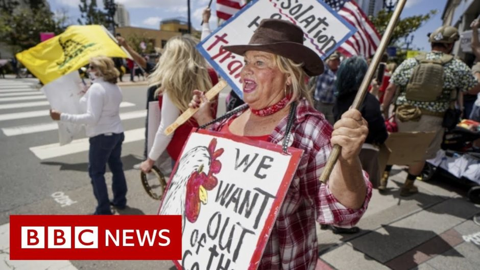 Coronavirus: US protests against and for lockdown restrictions   BBC News