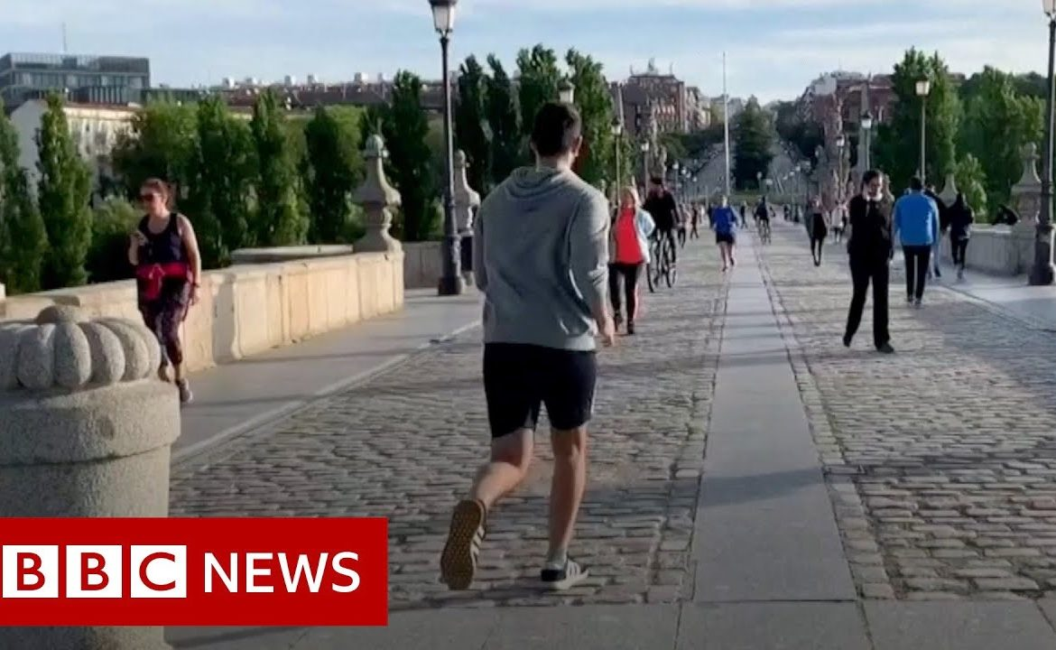 Coronavirus: Adults enjoy first outdoor exercise as Spain relaxes lockdown measures   BBC News